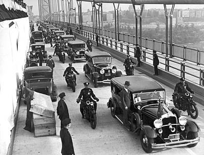 George Washington Bridge Open Poster by Underwood Archives