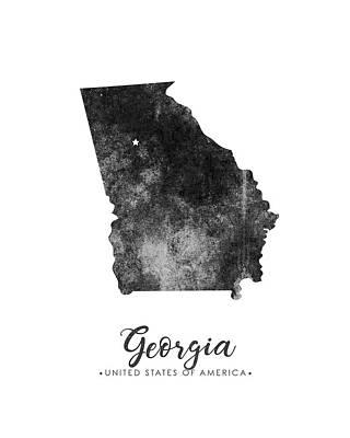 Georgia State Map Art - Grunge Silhouette Poster