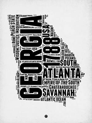 Georgia Word Cloud Map 2 Poster by Naxart Studio