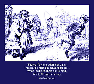 Poster featuring the painting Georgy Porgy Mother Goose Illustrated Nursery Rhyme by Marian Cates