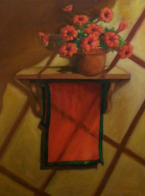 Geraniums And Red Towel Poster by Tom Forgione