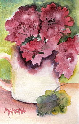 Geraniums In A Cup Poster