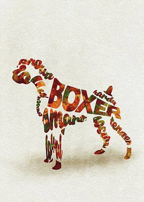 German Boxer Watercolor Painting / Typographic Art Poster