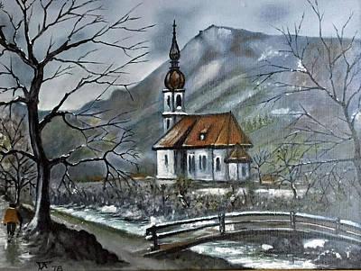 German Church At Ramsau  Poster