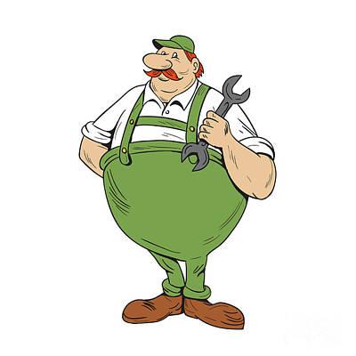 German Repairman Spanner Standing Cartoon Poster