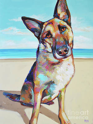German Shepard On The Beach Poster