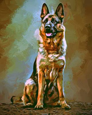 German Shepherd Painting Poster