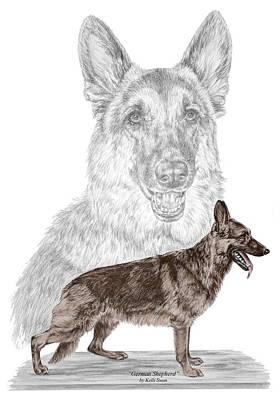 German Shepherd Art Print - Color Tinted Poster by Kelli Swan