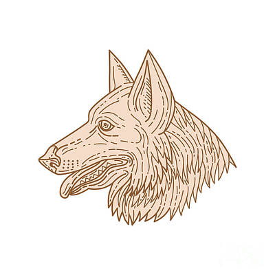 German Shepherd Dog Head Mono Line Poster