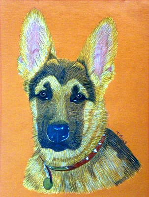 Poster featuring the drawing German Shepherd Dog by Terri Mills