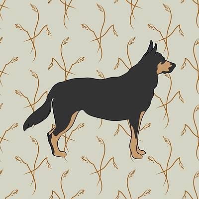 Poster featuring the digital art German Shepherd Dog With Field Grasses by MM Anderson