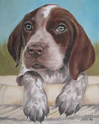 Poster featuring the painting German Shorhaired Pointer Puppy by Jindra Noewi