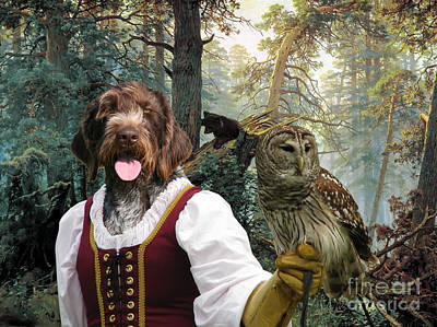 German Wirehaired Pointer Art Canvas Print - Lady Owl And Little Bears Poster