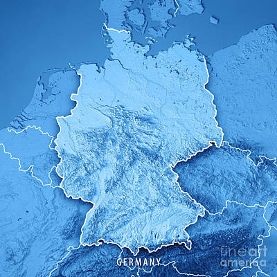 Germany Country 3d Render Topographic Map Blue Border Poster