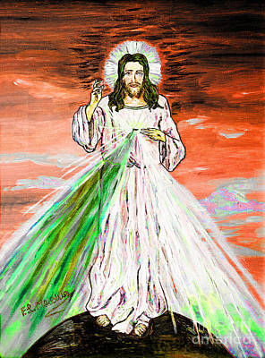 Poster featuring the painting Gesu' by Loredana Messina