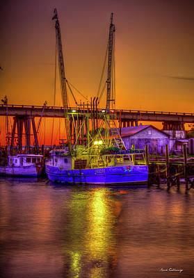 Getting Ready Tybee Island Shrimp Boat Catina Renea Savannah Ga Poster