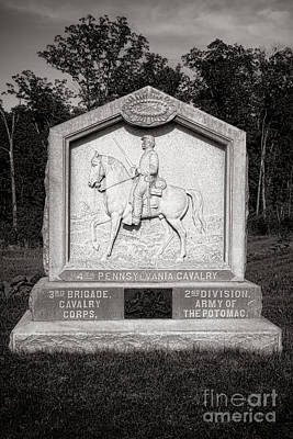 Gettysburg National Park 4th Pennsylvania Cavalry Monument Poster by Olivier Le Queinec