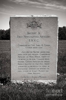 Gettysburg National Park First Pennsylvania Artillery Monument Poster by Olivier Le Queinec