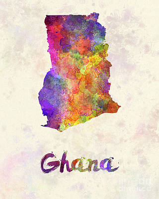 Ghana In Watercolor Poster by Pablo Romero