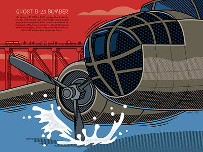 Poster featuring the digital art Ghost B-25 Bomber by Ron Magnes