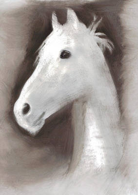 Poster featuring the painting Ghost Horse by FeatherStone Studio Julie A Miller