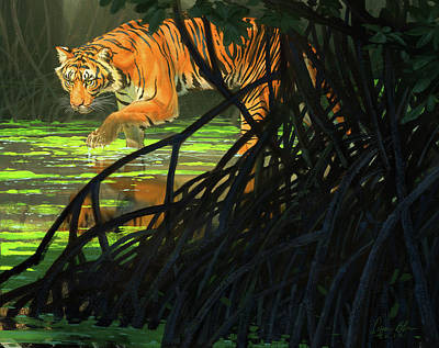 Ghost Of The Sunderbans - Bengal Tiger Poster by Aaron Blaise