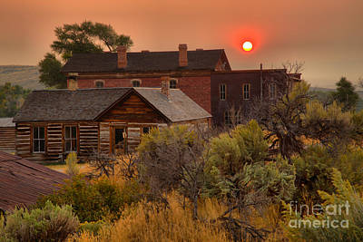 Ghost Town Forest Fire Sunset Poster