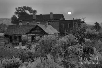 Ghost Town Forest Fire Sunset Black And White Poster