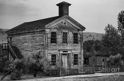 Ghost Town School House Black And White Poster
