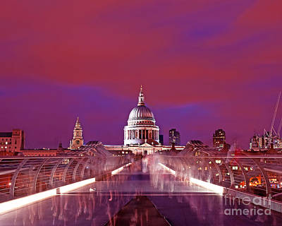 Ghostly Commuters Head To St Pauls On Millennium Bridge Poster by Chris Smith