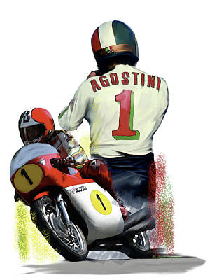 Poster featuring the painting Giacomo Agostini  Ago by Iconic Images Art Gallery David Pucciarelli