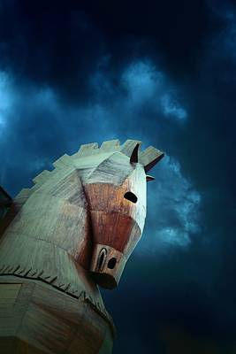 Wooden Trojan Horse At Ruins Of Ancient City Of Troy In Northwest Anatolia, Turkey Poster