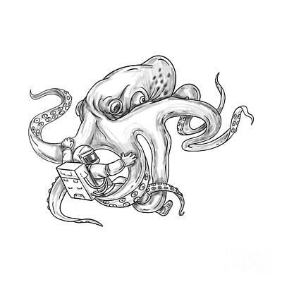 Giant Octopus Fighting Astronaut Tattoo Poster by Aloysius Patrimonio