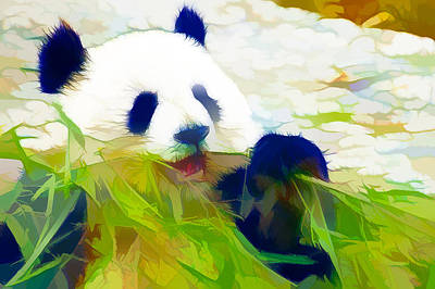 Poster featuring the painting Giant Panda Bear Eating Bamboo by Lanjee Chee