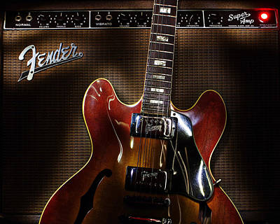Poster featuring the digital art Gibson 335 by Jim Mathis