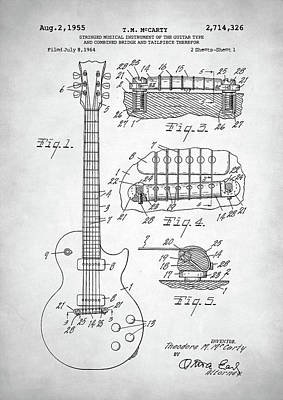 Poster featuring the digital art Gibson Les Paul Electric Guitar Patent by Taylan Apukovska