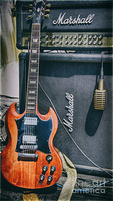 Gibson Sg And Marshall Stack Poster by Christopher Cutter
