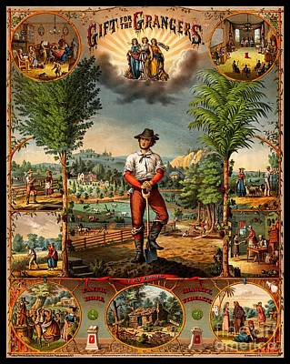 Gift For The Grangers 1873 Victoiran National Grange Agriculture Promotional Art Poster