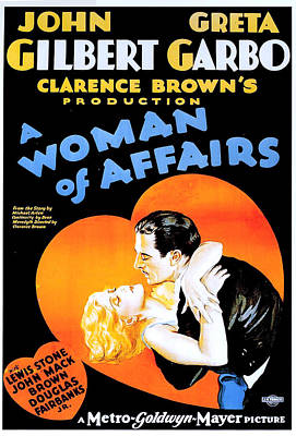 Gilbert And Garbo In A Woman Of Affairs 1928 Poster by Mountain Dreams