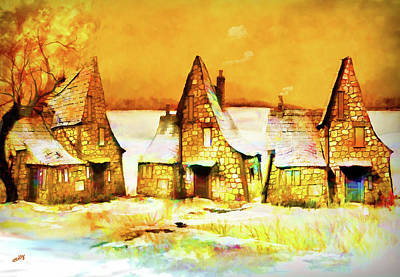 Poster featuring the painting Gingerbread Cottages by Valerie Anne Kelly
