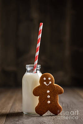 Gingerbread Man With Milk Poster by Amanda Elwell