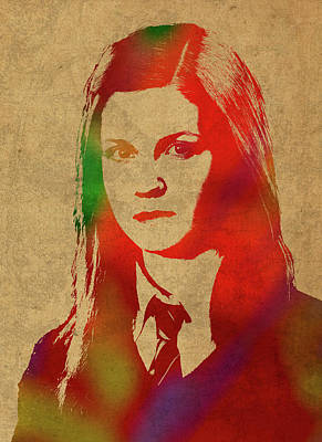 Ginny Weasley From Harry Potter Watercolor Portrait Poster by Design Turnpike