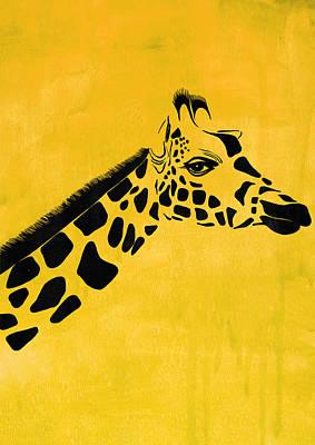 Giraffe Animal Decorative Yellow Poster 5 - By Diana Van Poster by Diana Van