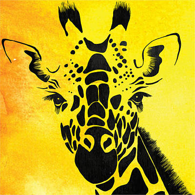 Giraffe Animal Decorative Yellow Wall Poster 5 - By Diana Van Poster by Diana Van
