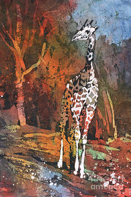 Poster featuring the painting Giraffe Batik II by Ryan Fox