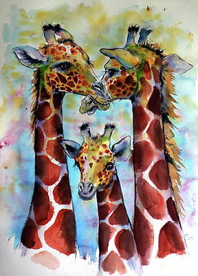 Poster featuring the painting Giraffe Family by Kovacs Anna Brigitta