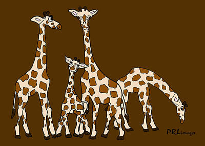 Giraffe Family Portrait Brown Background Poster