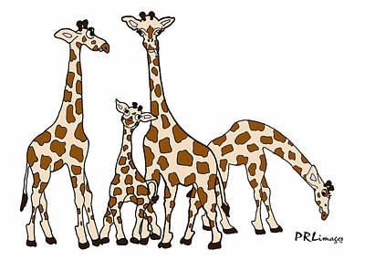 Giraffe Family Portrait In Brown And Beige Poster