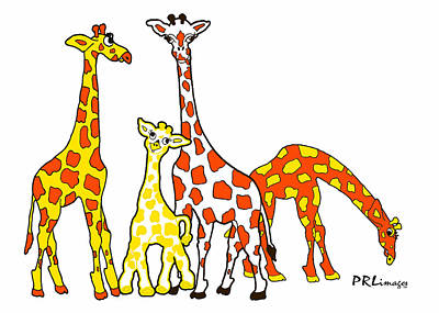 Giraffe Family Portrait In Orange And Yellow Poster