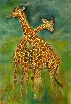Lovely Giraffe . Poster by Khalid Saeed